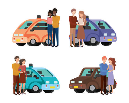 Set of cars with woman and man couple design, Automobile auto transportation vehicle transport wheel automotive and speed theme Vector illustration