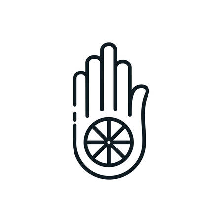 Jainism hand symbol design, Religion culture belief religious faith god spiritual meditation and traditional theme Vector illustration Illustration