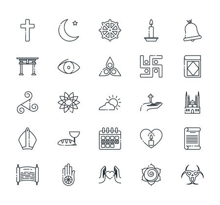 Icon set of world religious world symbols design, Religion culture belief faith god spiritual meditation and traditional theme Vector illustration 向量圖像