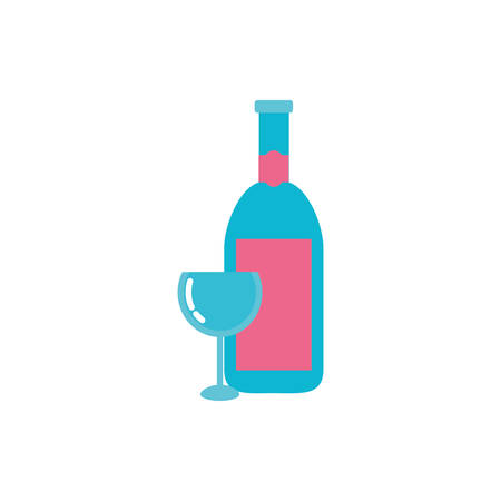 Wine bottle and cup design, Winery alcohol drink beverage restaurant and celebration theme Vector illustration