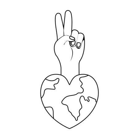 Planet heart and hand design, Human rights peace freedom international help social law and equality theme Vector illustration Ilustracja