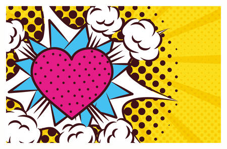 heart love pop art style vector illustration design Ilustrace
