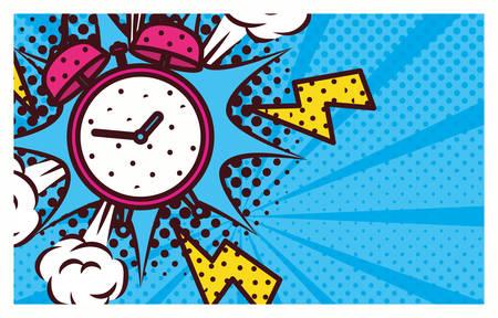 alarm clock pop art style vector illustration design Çizim
