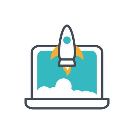 rocket launcher start up with laptop vector illustration design Çizim