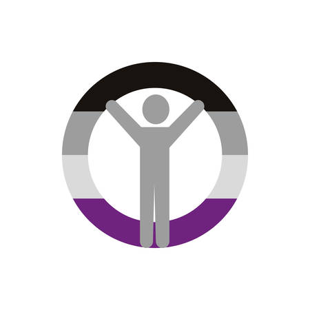 Asexual gender avatar man design, Sexual orientation identity human people relationship love connection and sex theme Vector illustration