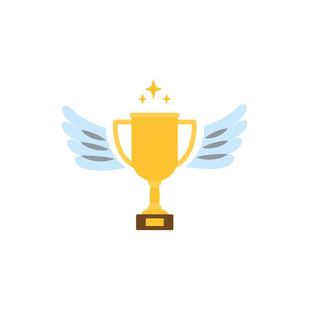 Trophy with wings design, Winner first competition success sport best leadership compete and challenge theme Vector illustration