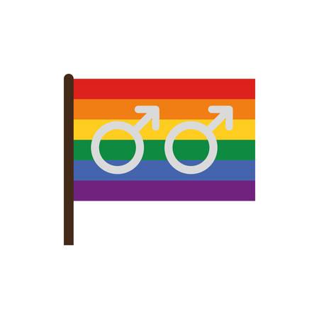 Gay symbol inside lgtbi flag design, Sexual orientation gender identity love celebration equality pride holiday and festive theme Vector illustration