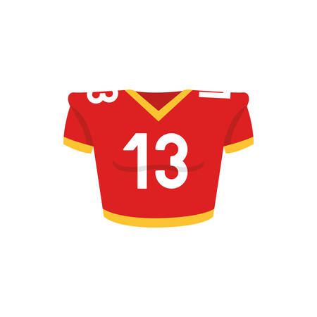 Player tshirt design, American football super bowl sport hobby competition game training equipment tournement and play theme Vector illustration