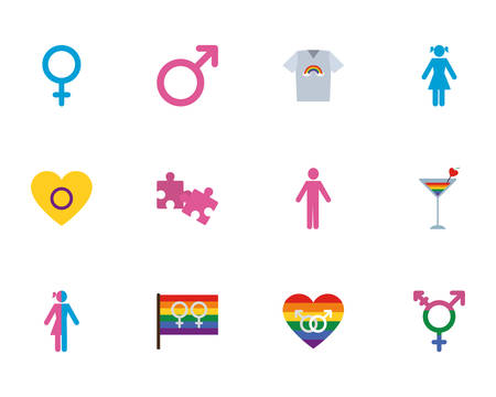 lgtbi icon set design, Sexual orientation gender identity love celebration equality pride holiday and festive theme Vector illustration