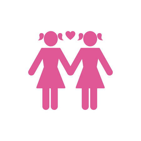 Lesbians couple and heart design, Sexual orientation gender identity love celebration equality pride holiday and festive theme Vector illustration