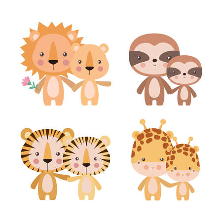 Cute cartoons tigers giraffes lions and sloths mothers and cubs design, Animal zoo life nature character childhood and adorable theme Vector illustration