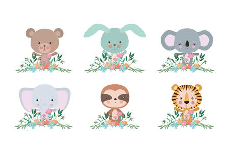 Set of cute cartoons design, Animals zoo life nature character childhood and adorable theme Vector illustration Stock Illustratie