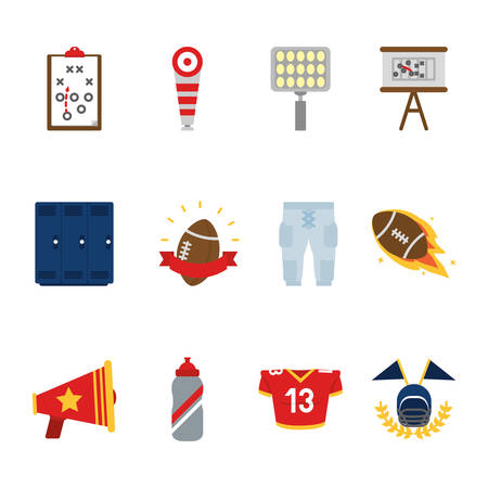 Icon set design, American football super bowl sport hobby competition game training equipment tournement and play theme Vector illustration