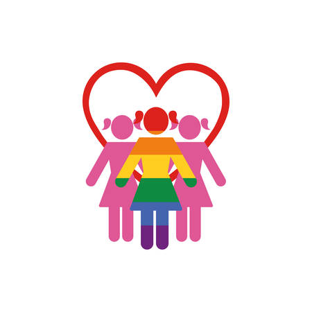 lgtbi women and heart design, Sexual orientation gender identity love celebration equality pride holiday and festive theme Vector illustration 일러스트