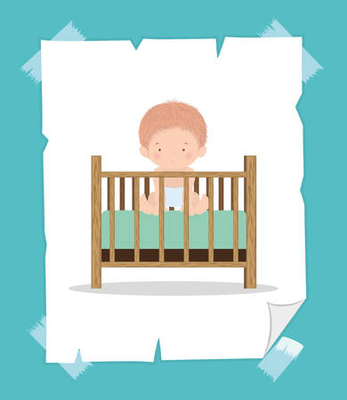 Cute baby boy inside cradle design, Child newborn childhood kid innocence and little theme Vector illustration