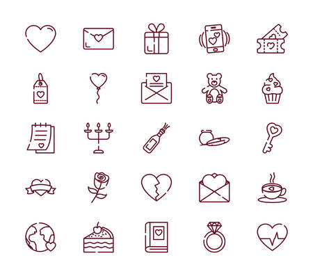 Icon set design of Love valentines day wedding passion romantic decoration and marriage theme Vector illustration Ilustracja