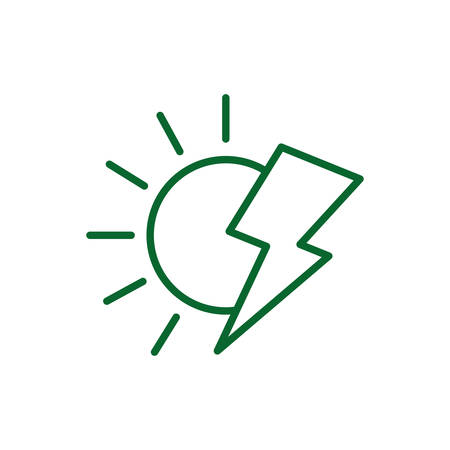 Sun and thunder design, Eco energy power save sustainable environmental nature and conservation theme Vector illustration
