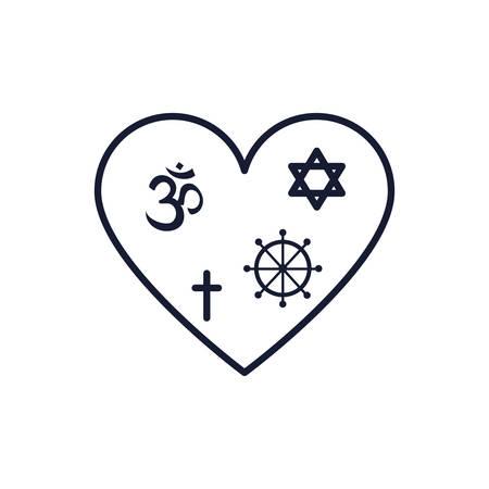 Symbols inside heart design, Religion culture belief religious faith god spiritual meditation and traditional theme Vector illustration Ilustrace