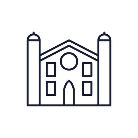 Catholicism church design, Religion culture belief religious faith god spiritual meditation and traditional theme Vector illustration