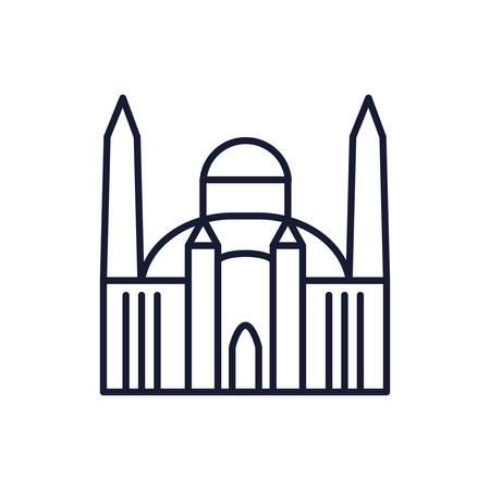 Mosque church design, Religion culture belief religious faith god spiritual meditation and traditional theme Vector illustration Ilustrace