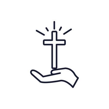 Christian and catholic cross over hand design, Religion culture belief religious faith god spiritual meditation and traditional theme Vector illustration Ilustrace