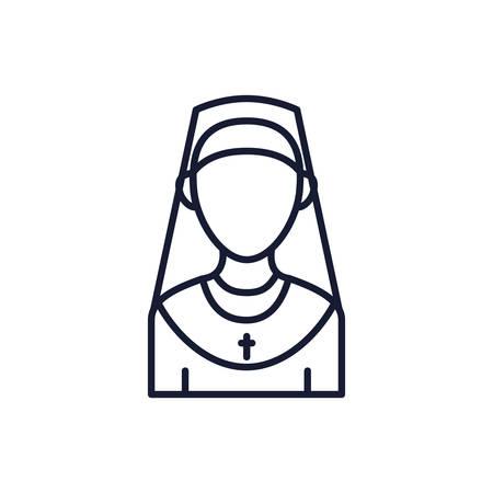Christian and catholic nun design, Religion culture belief religious faith god spiritual meditation and traditional theme Vector illustration