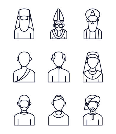 Icon set of world religious world symbols design, Religion culture belief faith god spiritual meditation and traditional theme Vector illustration Ilustrace