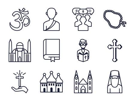 Icon set of world religious world symbols design, Religion culture belief faith god spiritual meditation and traditional theme Vector illustration