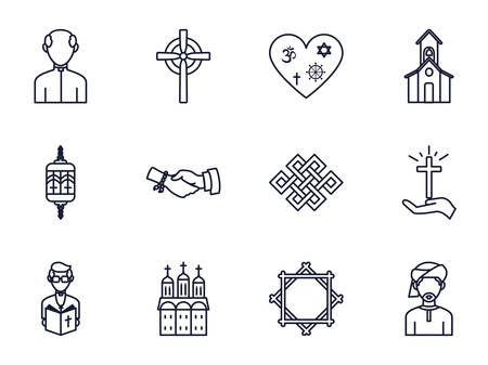 Icon set of world religious world symbols design, Religion culture belief faith god spiritual meditation and traditional theme Vector illustration 向量圖像
