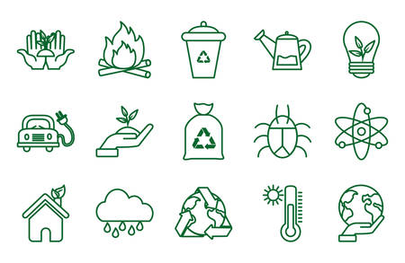 Icon set design, Ecology eco save green natural organic environment protection and care theme Vector illustration