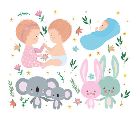 Set of cute babies koalas and rabbits design, Child newborn childhood kid innocence and little theme Vector illustration
