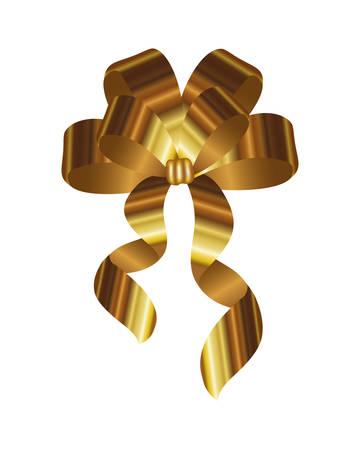 golden bow ribbon decorative icon vector illustration design