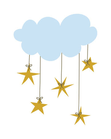 Cloud with stars hanging design, Weather sky nature climate cloudy season and meteorology theme Vector illustration