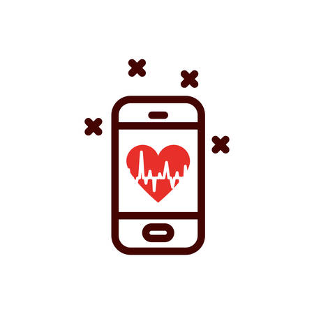 Heart pulse inside smartphone design of Medical care health hospital emergency aid exam clinic and patient theme Vector illustration
