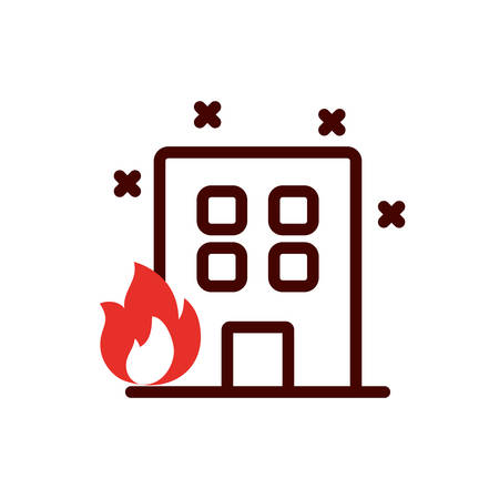 Building with flame design, Emergency rescue save department 911 danger help safety and aid theme Vector illustration