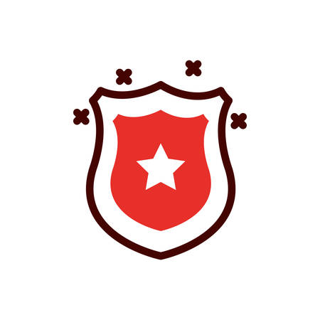 Star inside shield design, Emergency rescue save department 911 danger help safety and aid theme Vector illustration