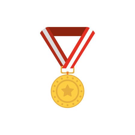 Gold medal design, Winner first competition success sport best leadership compete and challenge theme Vector illustration
