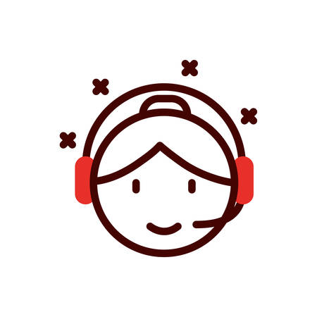 Woman operator with headphone design, Call center technical service online support service telemarketing and contact theme Vector illustration