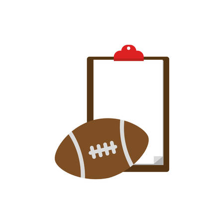 Ball and document design, American football super bowl sport hobby competition game training equipment tournement and play theme Vector illustration