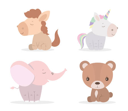 Cute bear unicorn horse and elephant cartoon design, Animal zoo life nature character childhood and adorable theme Vector illustration