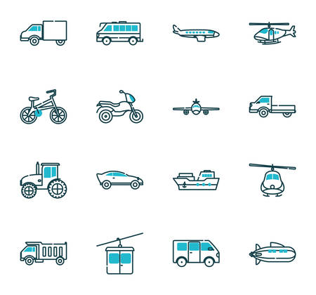 Vehicles icon set design, Transportation travel trip urban motor speed fast automotive and driving theme Vector illustration