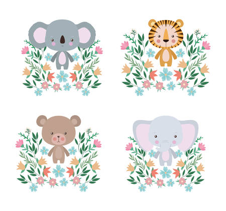 Cute tiger koala bear and elephant cartoon design, Animal zoo life nature character childhood and adorable theme Vector illustration