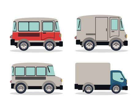 Design von Campinganhängern und LKW-Fahrzeugen, Transportreise, städtische Motorgeschwindigkeit, schnelles Automobil- und Fahrthema Vektorillustration