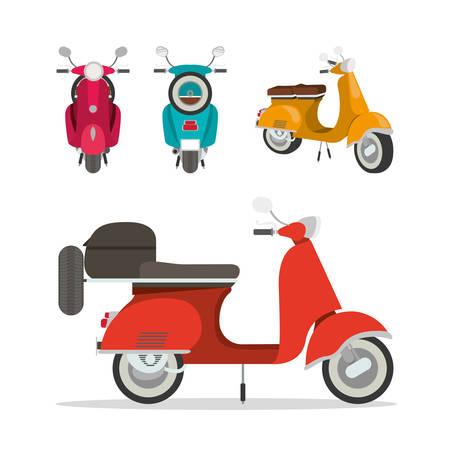 scooter motorcycles set design, Transportation travel trip urban motor speed fast automotive and driving theme Vector illustration Vektoros illusztráció