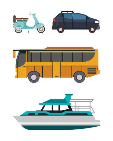 Motorcycle car bus and boat vehicles design, Transportation travel trip urban motor speed fast automotive and driving theme Vector illustration Ilustración de vector