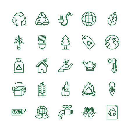 Icon set design, Ecology eco save green natural organic environment protection and care theme Vector illustration Archivio Fotografico - 138975379