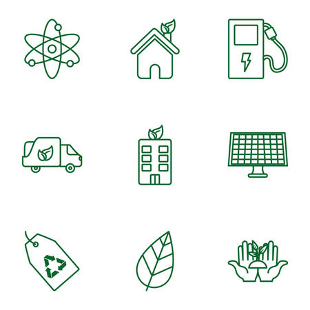 Icon set design, Ecology eco save green natural organic environment protection and care theme Vector illustration Archivio Fotografico - 138971050