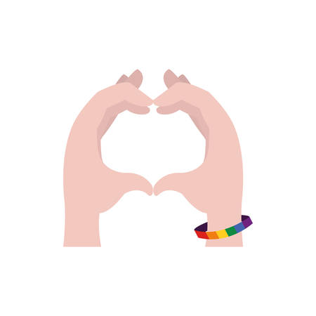 lgtbi bracelet hands and heart design, Sexual orientation gender identity love celebration equality pride holiday and festive theme Vector illustration