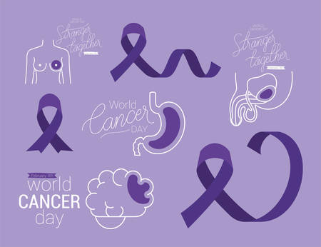 Icon set design, World cancer day february four awareness campaign disease prevention and foundation theme Vector illustration