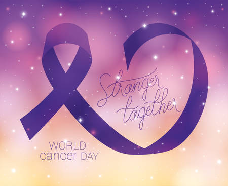 Purple ribbon and stronger together text design, World cancer day february four awareness campaign disease prevention and foundation theme Vector illustration